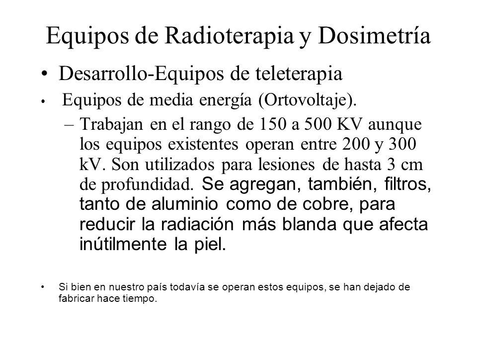 Equipos de Radioterapia y Dosimetría Desarrollo-Equipos de teleterapia Equipos de media energía (Ortovoltaje). –Trabajan en el rango de 150 a 500 KV a