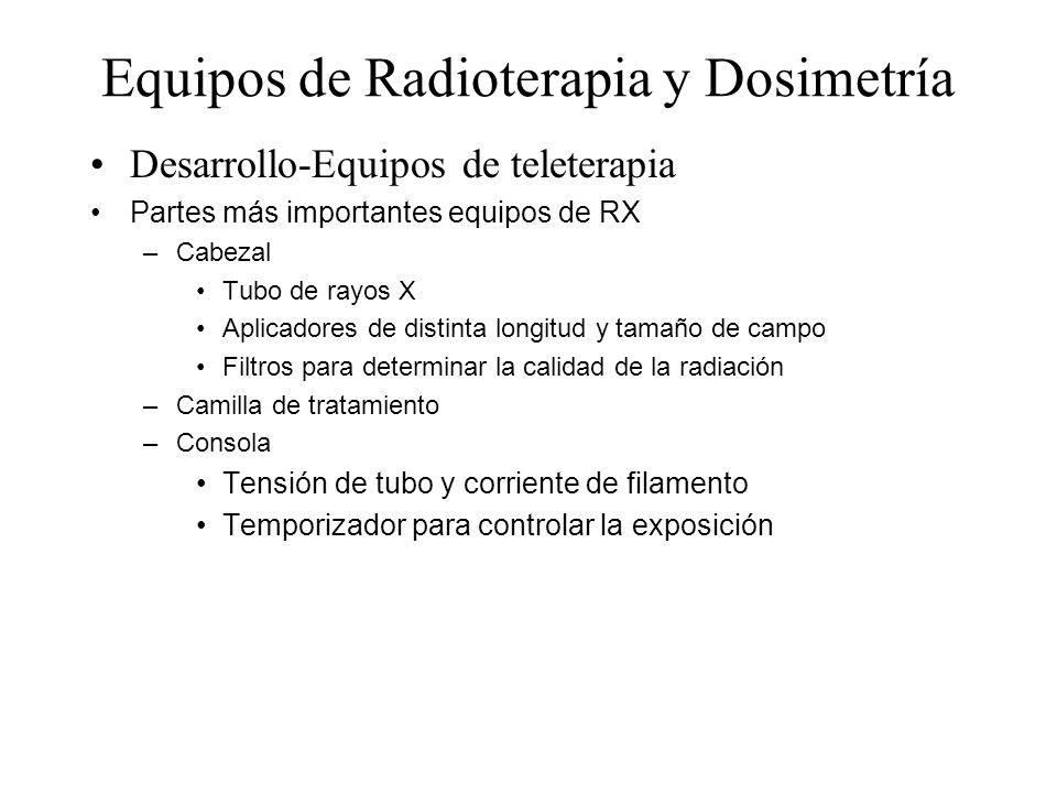 Equipos de Radioterapia y Dosimetría Desarrollo-Equipos de teleterapia Partes más importantes equipos de RX –Cabezal Tubo de rayos X Aplicadores de di