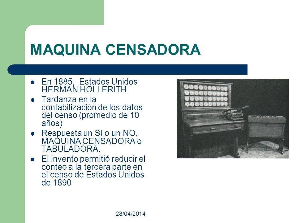 28/04/2014 MAQUINA CENSADORA En 1885, Estados Unidos HERMAN HOLLERITH. Tardanza en la contabilización de los datos del censo (promedio de 10 años) Res