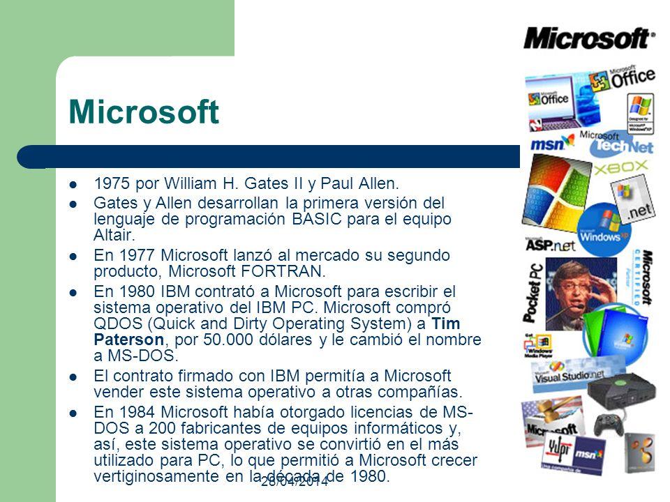 28/04/2014 Microsoft 1975 por William H. Gates II y Paul Allen. Gates y Allen desarrollan la primera versión del lenguaje de programación BASIC para e
