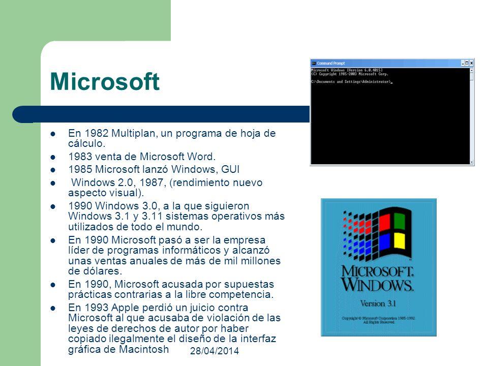 28/04/2014 Microsoft En 1982 Multiplan, un programa de hoja de cálculo. 1983 venta de Microsoft Word. 1985 Microsoft lanzó Windows, GUI Windows 2.0, 1