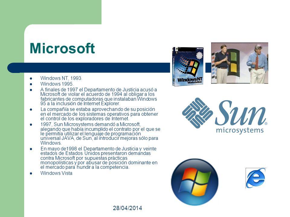 28/04/2014 Microsoft Windows NT, 1993. Windows 1995. A finales de 1997 el Departamento de Justicia acusó a Microsoft de violar el acuerdo de 1994 al o