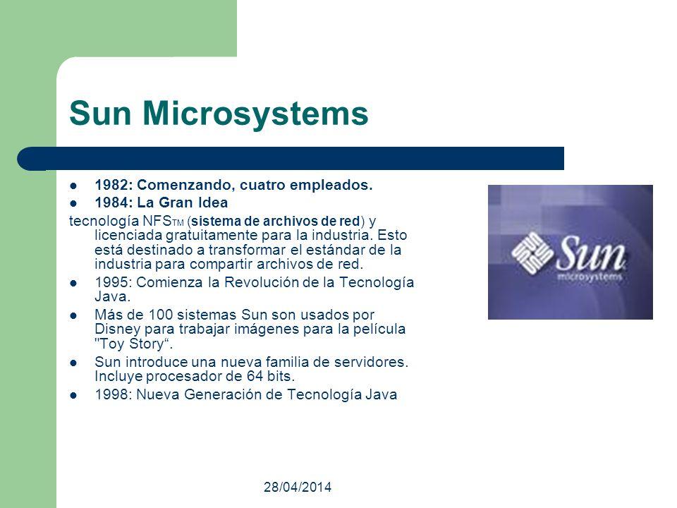 28/04/2014 Sun Microsystems 1982: Comenzando, cuatro empleados. 1984: La Gran Idea tecnología NFS TM (sistema de archivos de red) y licenciada gratuit