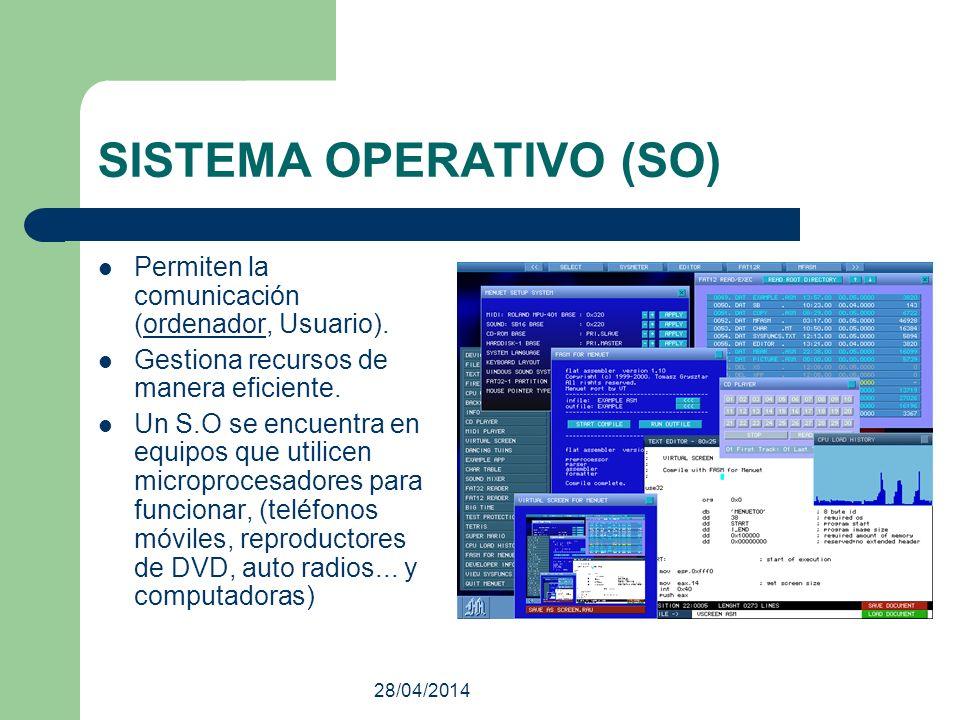 28/04/2014 SISTEMA OPERATIVO (SO) Permiten la comunicación (ordenador, Usuario).ordenador Gestiona recursos de manera eficiente. Un S.O se encuentra e