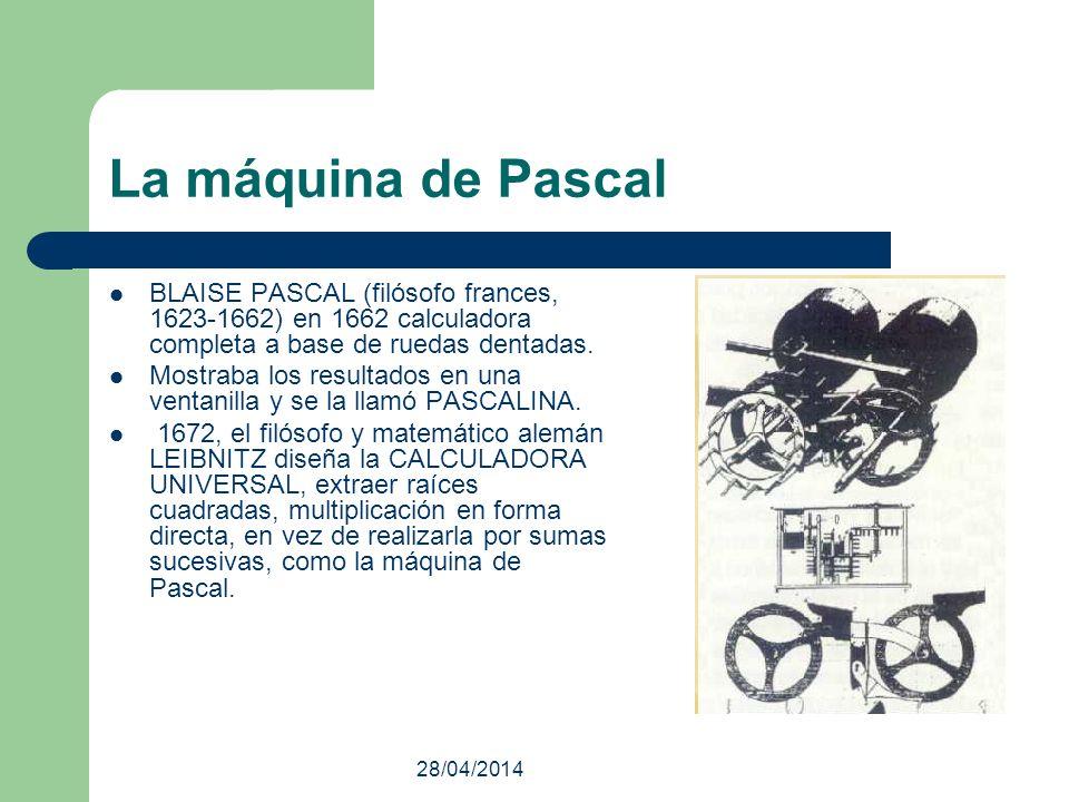 28/04/2014 La máquina de Pascal BLAISE PASCAL (filósofo frances, 1623-1662) en 1662 calculadora completa a base de ruedas dentadas. Mostraba los resul