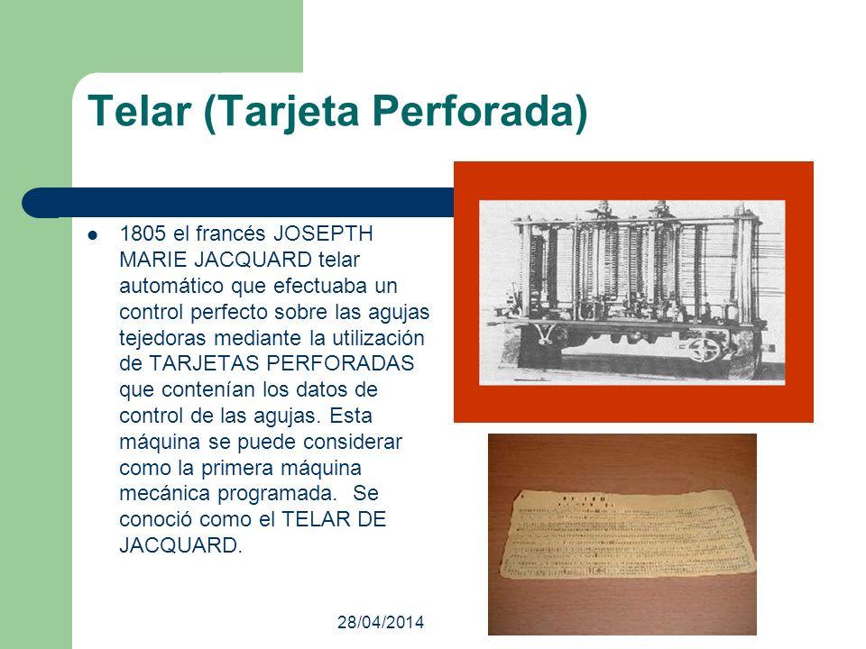 28/04/2014 Telar (Tarjeta Perforada) 1805 el francés JOSEPTH MARIE JACQUARD telar automático que efectuaba un control perfecto sobre las agujas tejedo