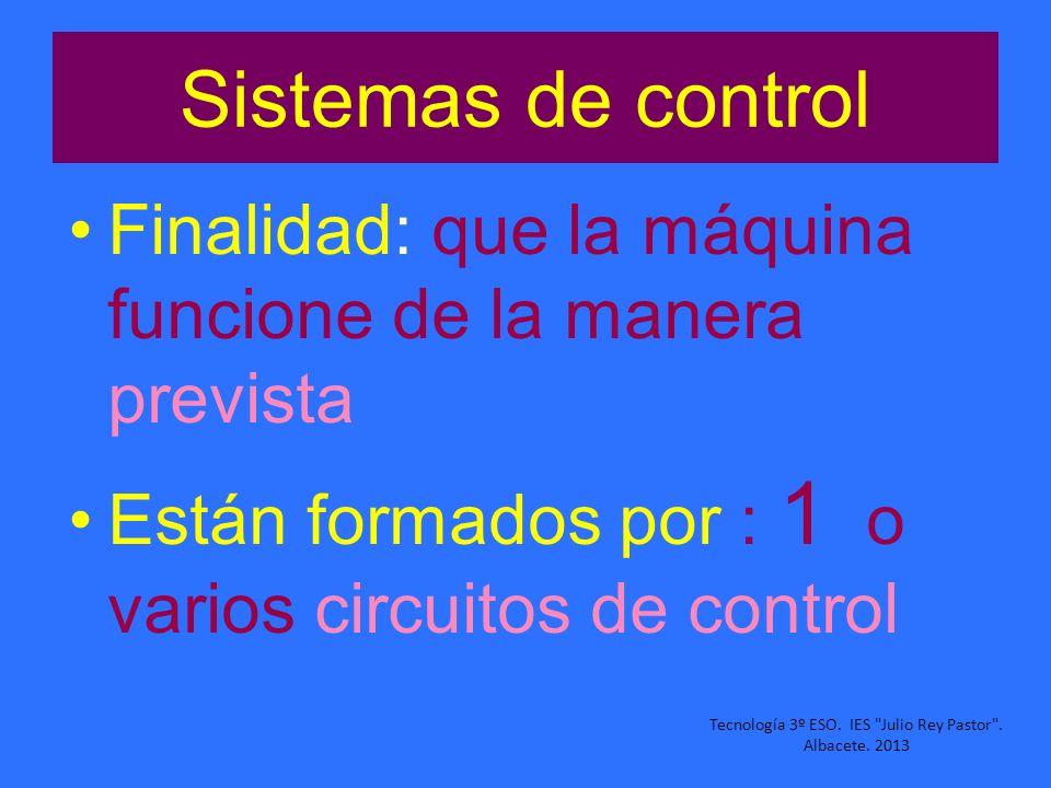 Sistemas de control Finalidad: que la máquina funcione de la manera prevista Están formados por : 1 o varios circuitos de control Tecnología 3º ESO. I