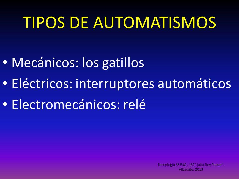 TIPOS DE AUTOMATISMOS Mecánicos: los gatillos Eléctricos: interruptores automáticos Electromecánicos: relé Tecnología 3º ESO. IES