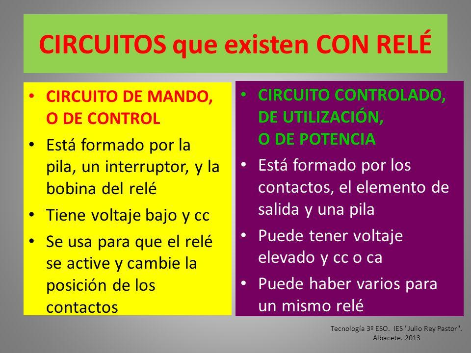 CIRCUITOS que existen CON RELÉ CIRCUITO DE MANDO, O DE CONTROL Está formado por la pila, un interruptor, y la bobina del relé Tiene voltaje bajo y cc