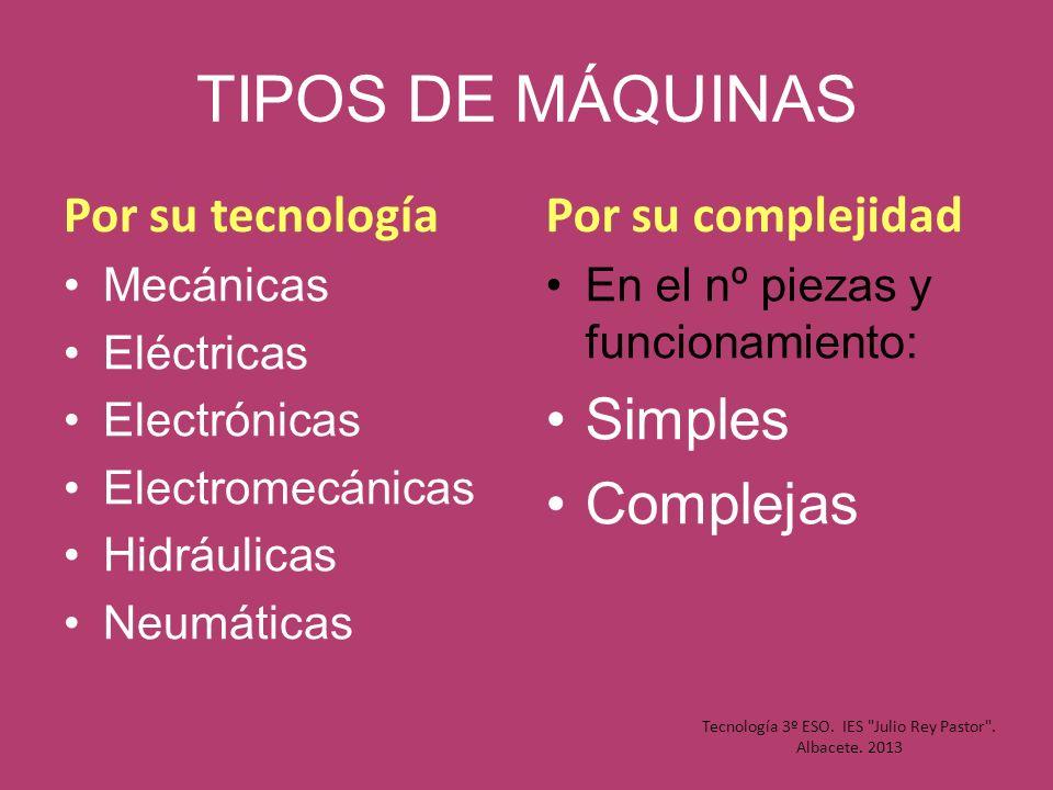 TIPOS DE MÁQUINAS Por su tecnología Mecánicas Eléctricas Electrónicas Electromecánicas Hidráulicas Neumáticas Por su complejidad En el nº piezas y fun