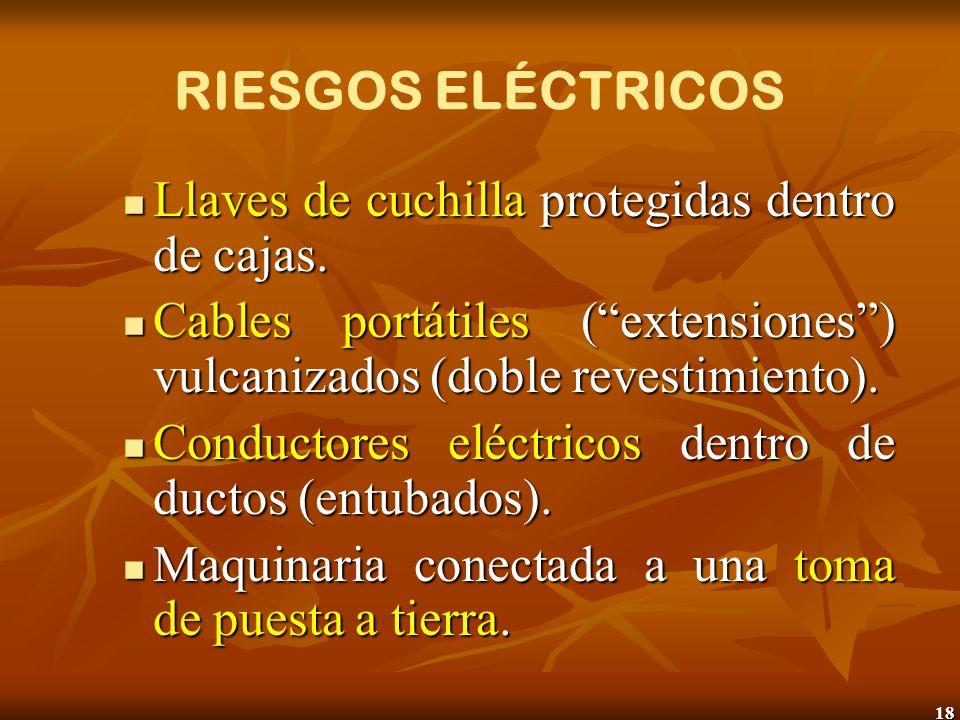 18 RIESGOS ELÉCTRICOS Llaves de cuchilla protegidas dentro de cajas. Llaves de cuchilla protegidas dentro de cajas. Cables portátiles (extensiones) vu