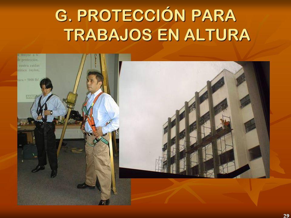 29 G. PROTECCIÓN PARA TRABAJOS EN ALTURA