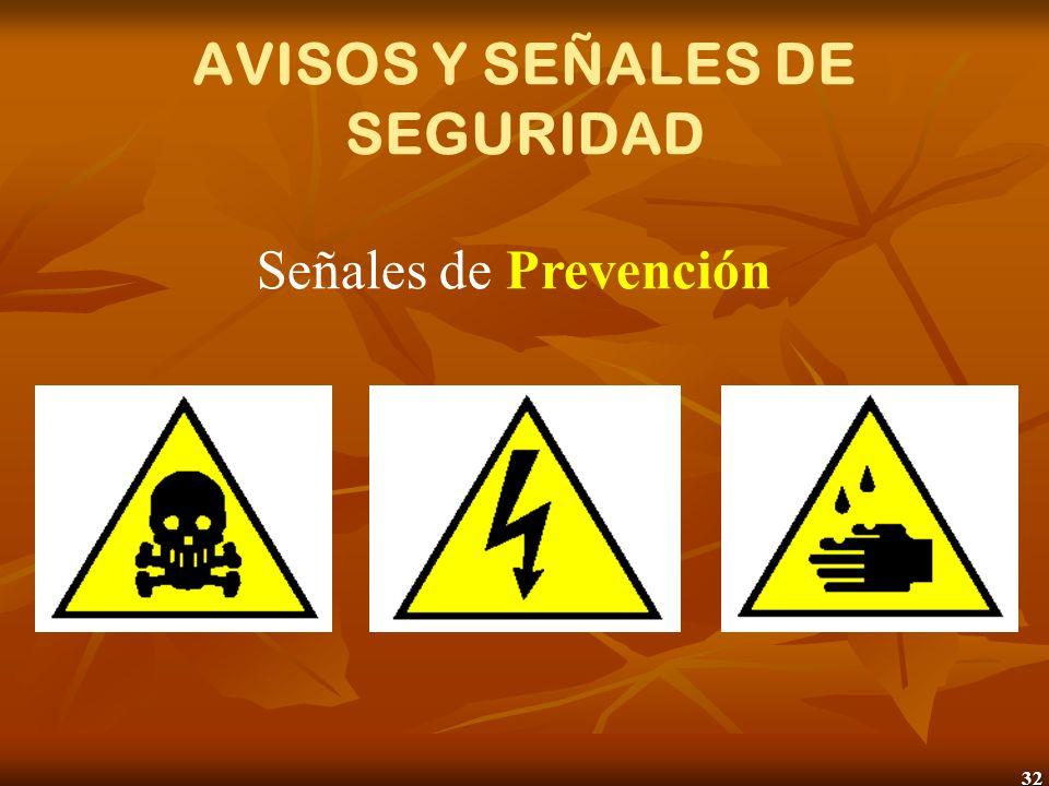 32 AVISOS Y SEÑALES DE SEGURIDAD Señales de Prevención