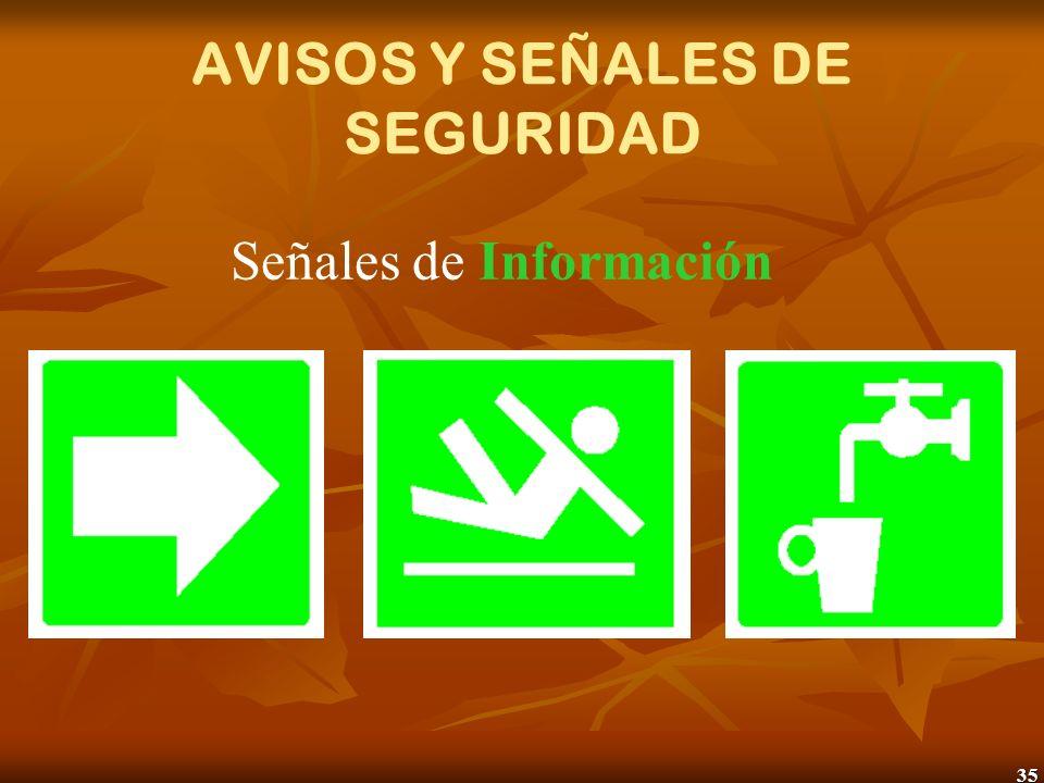 35 AVISOS Y SEÑALES DE SEGURIDAD Señales de Información