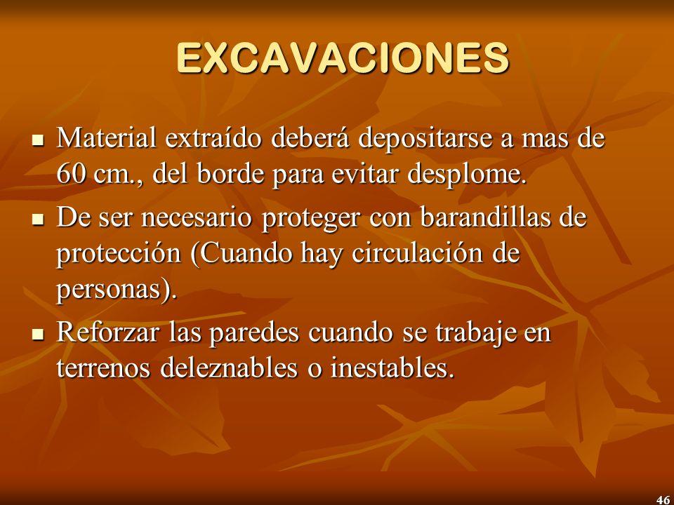 46 EXCAVACIONES EXCAVACIONES Material extraído deberá depositarse a mas de 60 cm., del borde para evitar desplome. Material extraído deberá depositars