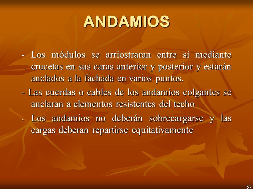 57 ANDAMIOS - Los módulos se arriostraran entre si mediante crucetas en sus caras anterior y posterior y estarán anclados a la fachada en varios punto