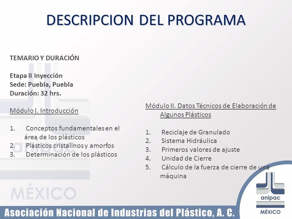 TEMARIO Y DURACIÓN Etapa II Inyección Sede: Puebla, Puebla Duración: 32 hrs. Módulo I. Introducción 1. Conceptos fundamentales en el área de los plást