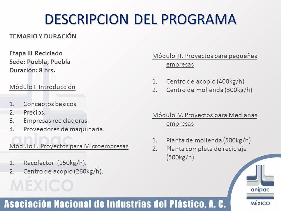 TEMARIO Y DURACIÓN Etapa III Reciclado Sede: Puebla, Puebla Duración: 8 hrs. Módulo I. Introducción 1.Conceptos básicos. 2.Precios. 3.Empresas recicla