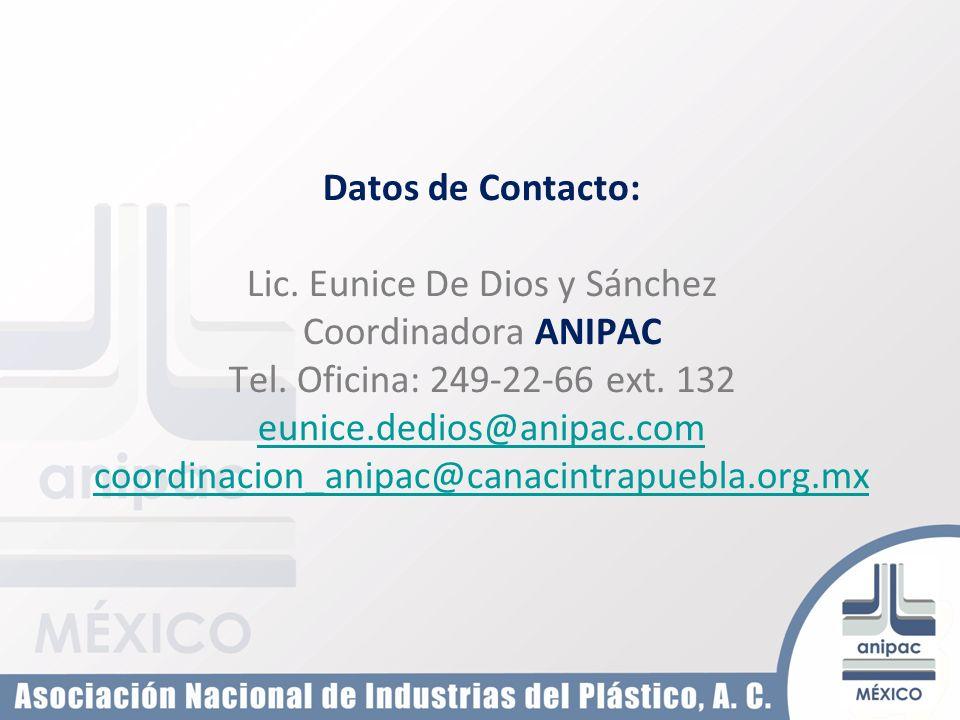 Datos de Contacto: Lic. Eunice De Dios y Sánchez Coordinadora ANIPAC Tel. Oficina: 249-22-66 ext. 132 eunice.dedios@anipac.com eunice.dedios@anipac.co