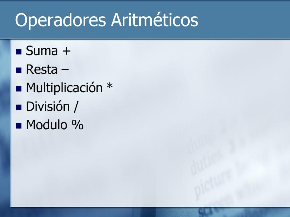 Operadores Aritméticos Suma + Resta – Multiplicación * División / Modulo %