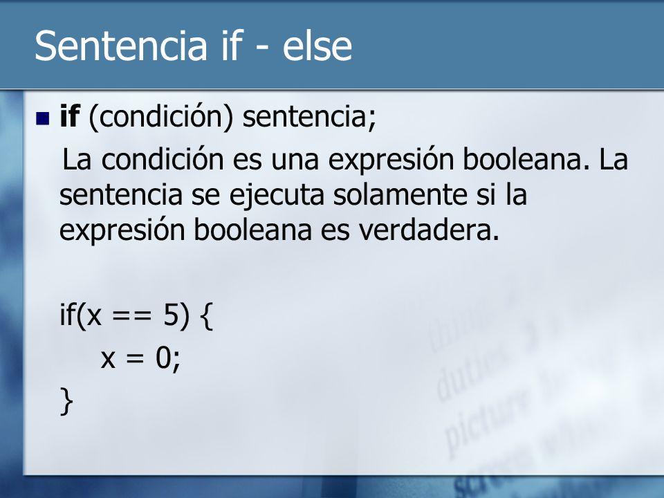 Sentencia if - else if (condición) sentencia; La condición es una expresión booleana.