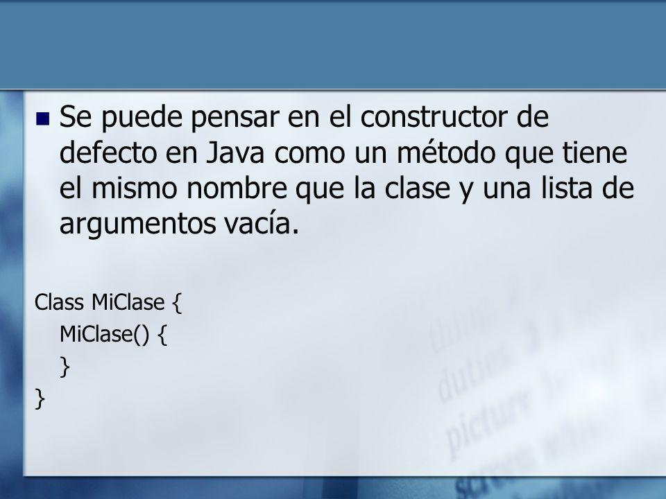 Se puede pensar en el constructor de defecto en Java como un método que tiene el mismo nombre que la clase y una lista de argumentos vacía.