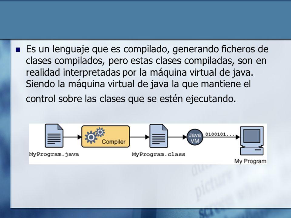 Es un lenguaje que es compilado, generando ficheros de clases compilados, pero estas clases compiladas, son en realidad interpretadas por la máquina virtual de java.