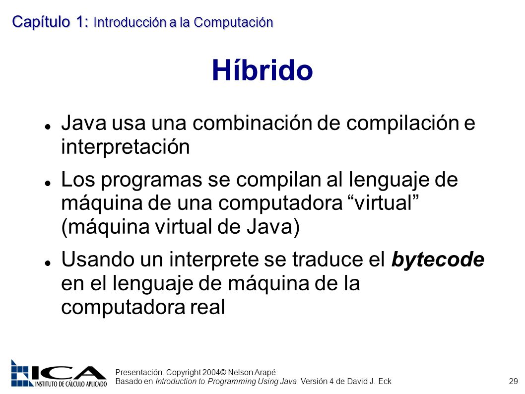 29 Presentación: Copyright 2004© Nelson Arapé Basado en Introduction to Programming Using Java Versión 4 de David J. Eck Capítulo 1: Introducción a la