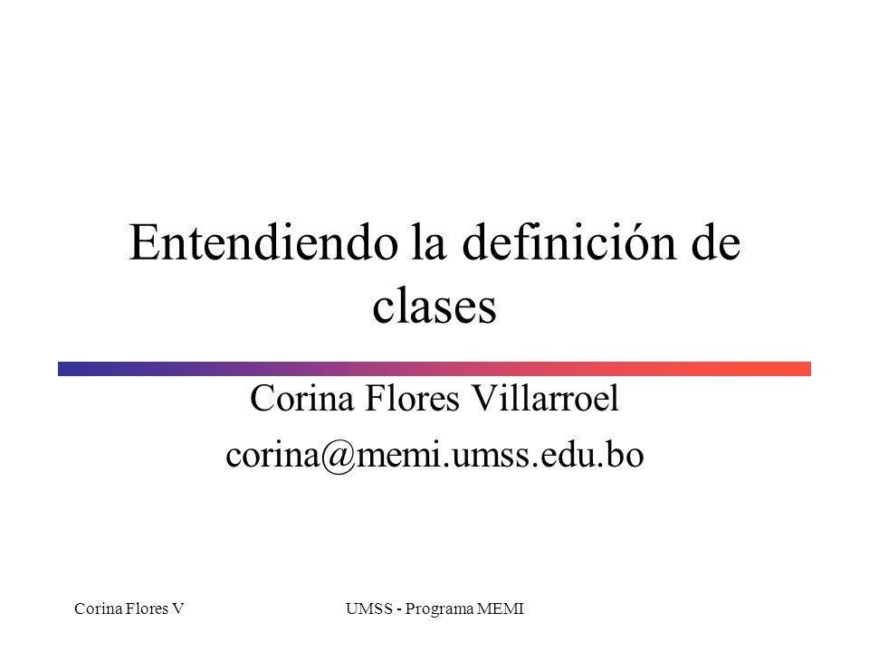 Corina Flores VUMSS - Programa MEMI Métodos modificadores (mutadores) Los métodos mutadores, son métodos que cambian el estado de un objeto.