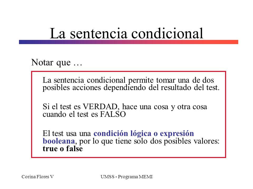 Corina Flores VUMSS - Programa MEMI La sentencia condicional Notar que … La sentencia condicional permite tomar una de dos posibles acciones dependien