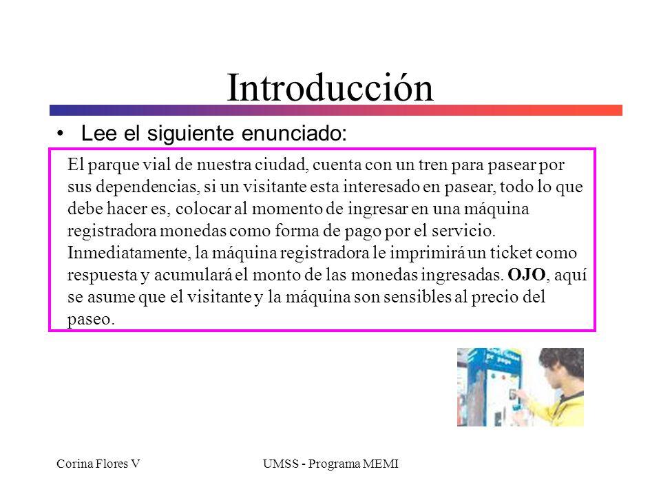 Corina Flores VUMSS - Programa MEMI Contenidos Elementos básicos en la definición de clases Campos Constructores Parámetros Métodos Sentencias de asig