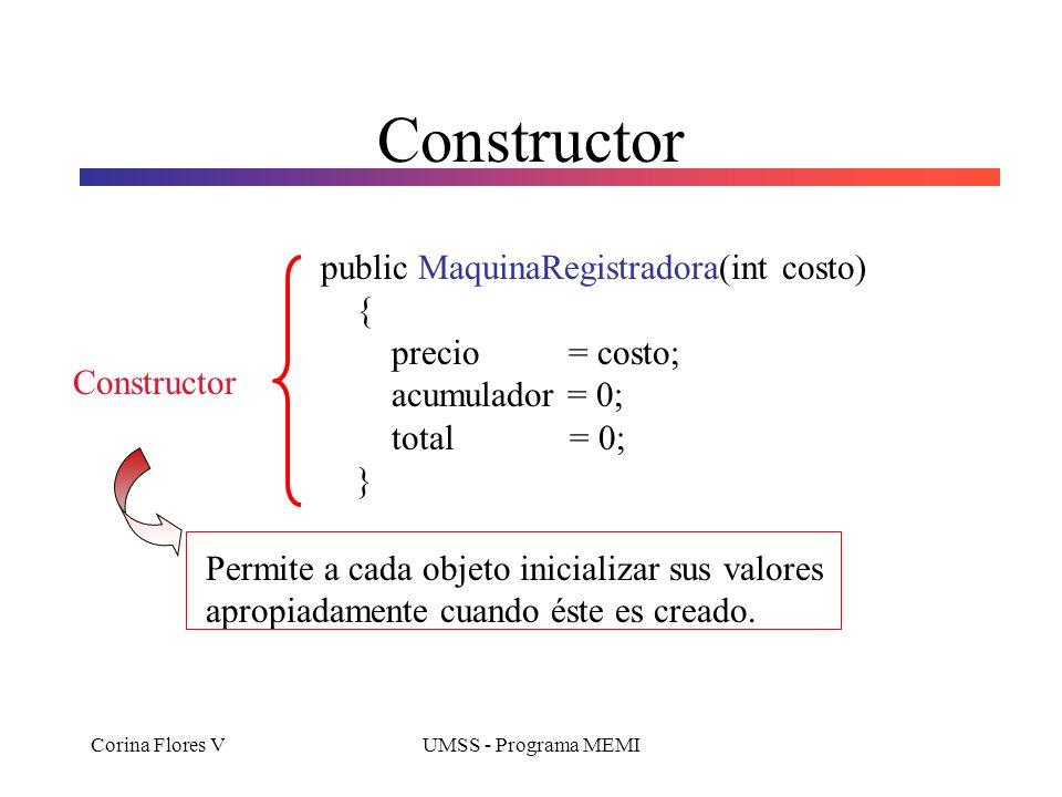 Corina Flores VUMSS - Programa MEMI Constructor public MaquinaRegistradora(int costo) { precio = costo; acumulador = 0; total = 0; } Constructor Permite a cada objeto inicializar sus valores apropiadamente cuando éste es creado.