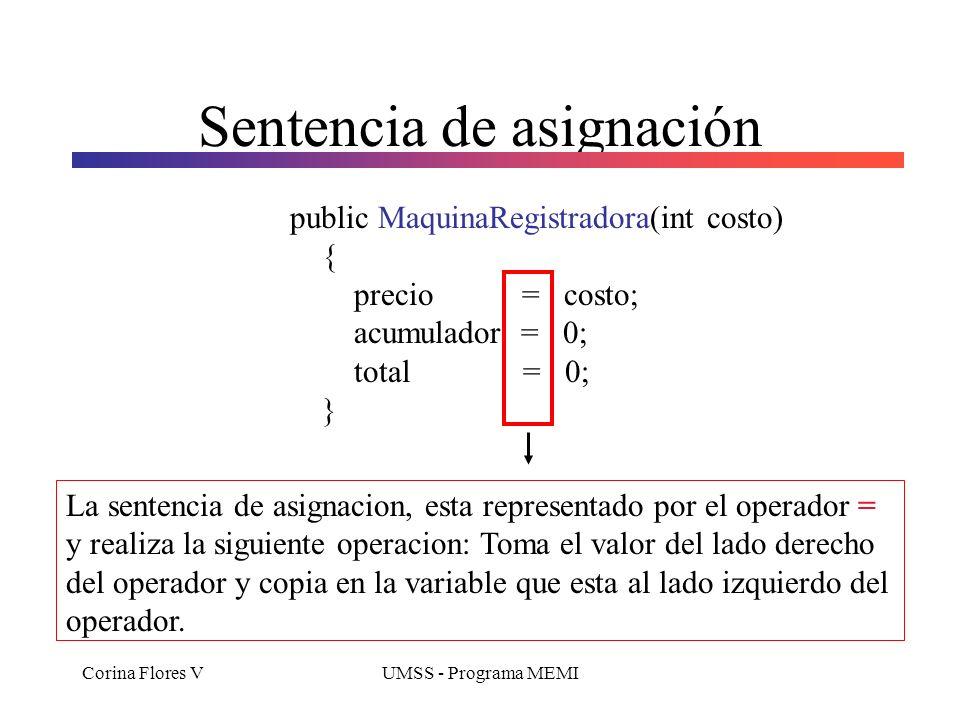 Corina Flores VUMSS - Programa MEMI Constructor public MaquinaRegistradora(int costo) { precio = costo; acumulador = 0; total = 0; } Constructor Permi