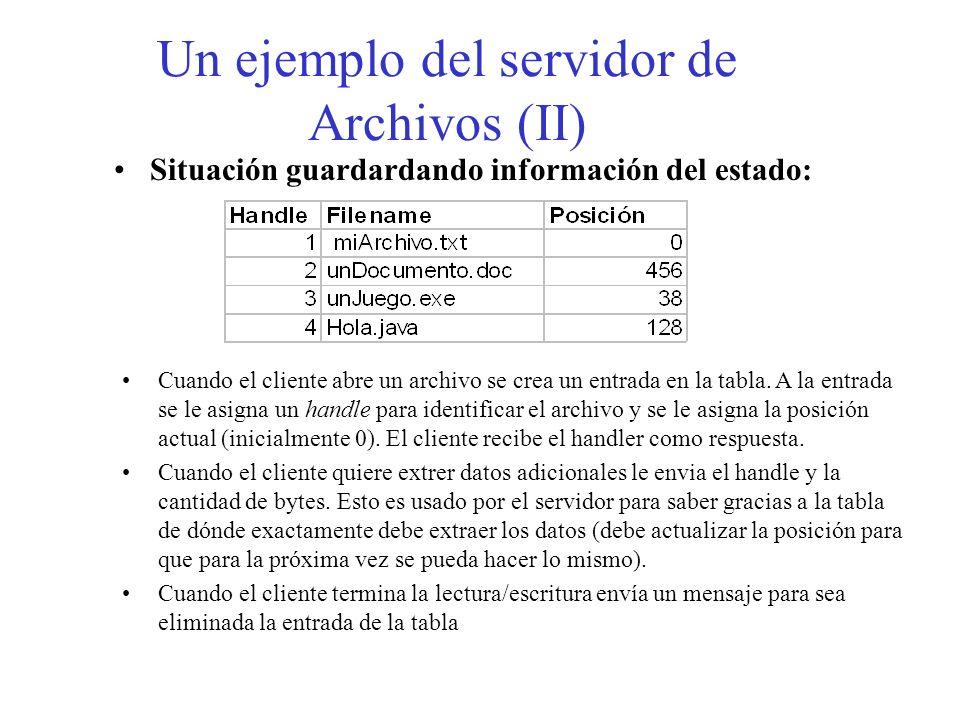 Un ejemplo del servidor de Archivos (II) Situación guardardando información del estado: Cuando el cliente abre un archivo se crea un entrada en la tab