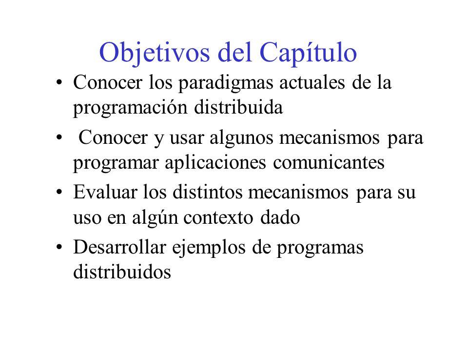 Objetivos del Capítulo Conocer los paradigmas actuales de la programación distribuida Conocer y usar algunos mecanismos para programar aplicaciones co