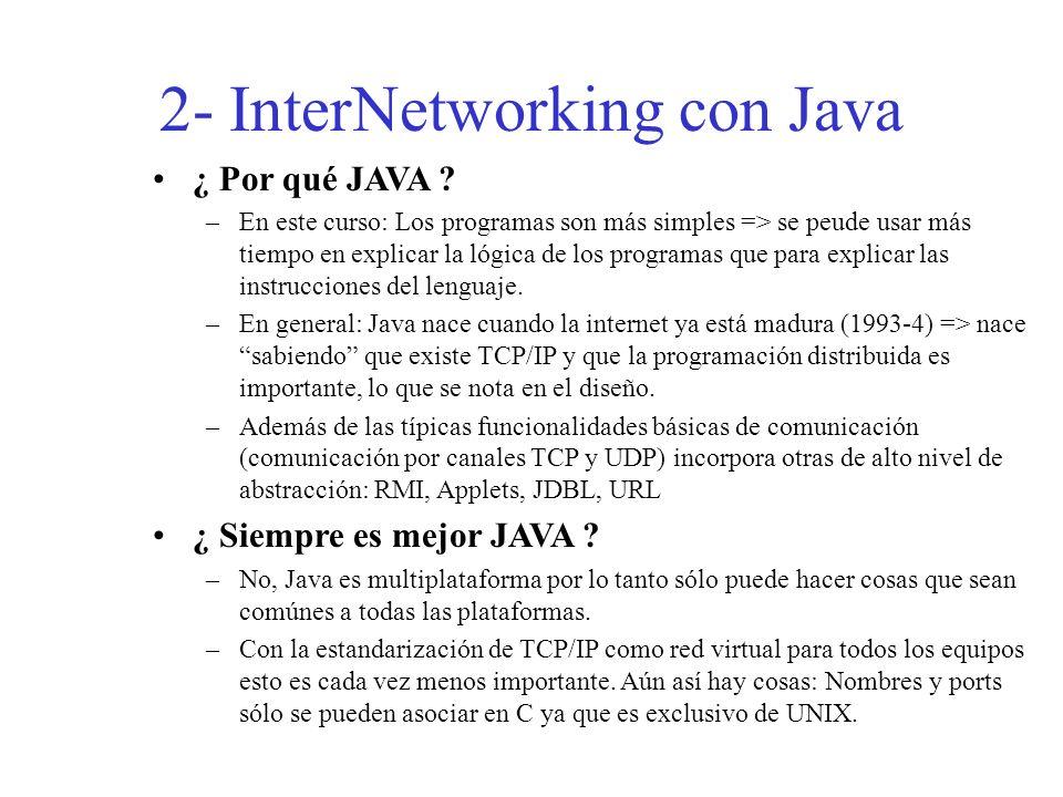 2- InterNetworking con Java ¿ Por qué JAVA ? –En este curso: Los programas son más simples => se peude usar más tiempo en explicar la lógica de los pr
