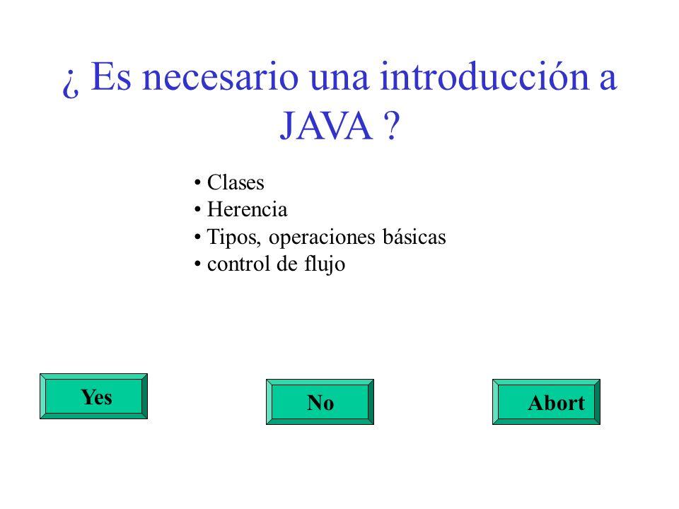 ¿ Es necesario una introducción a JAVA ? Yes NoAbort Clases Herencia Tipos, operaciones básicas control de flujo