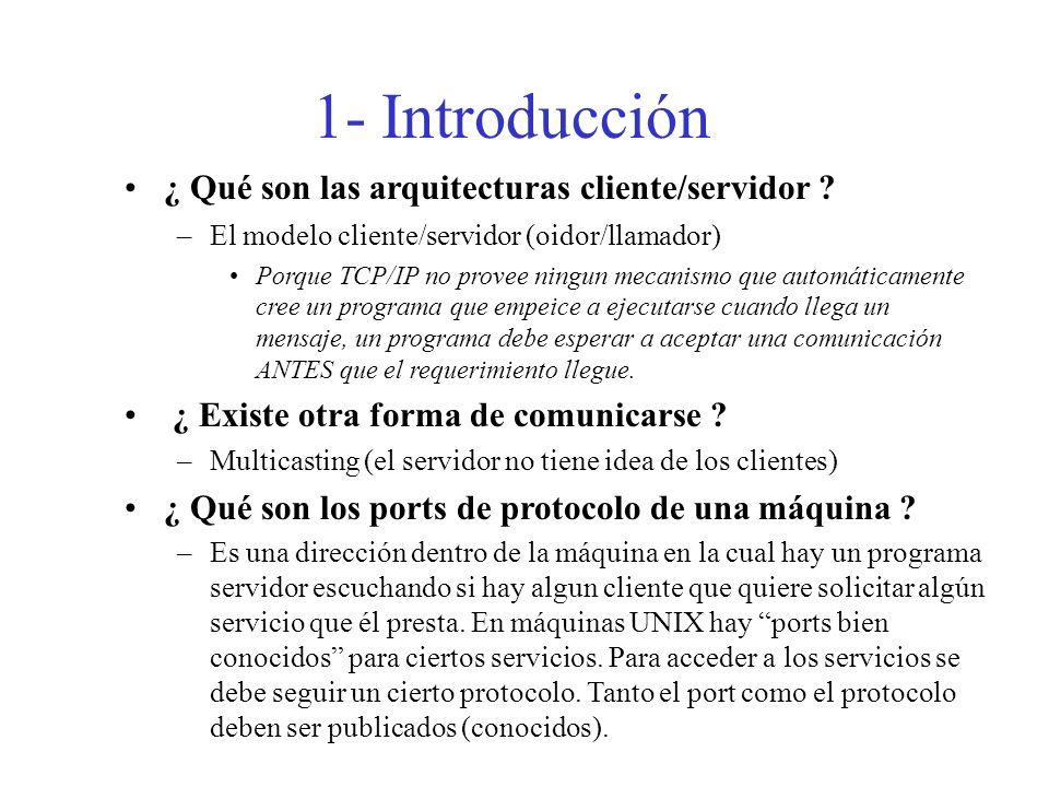1- Introducción ¿ Qué son las arquitecturas cliente/servidor ? –El modelo cliente/servidor (oidor/llamador) Porque TCP/IP no provee ningun mecanismo q