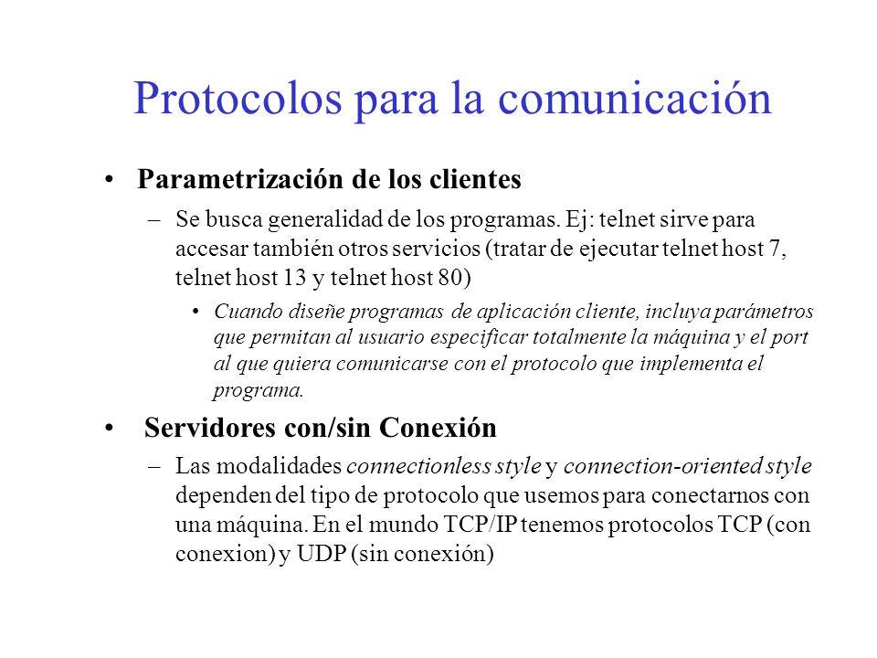 Protocolos para la comunicación Parametrización de los clientes –Se busca generalidad de los programas. Ej: telnet sirve para accesar también otros se