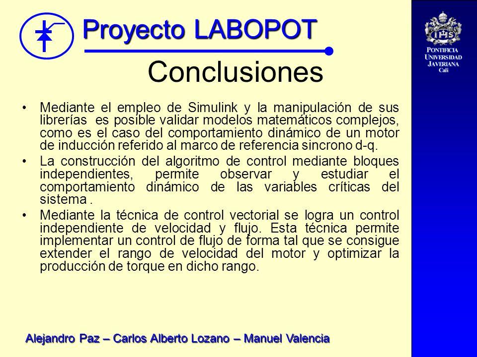 Proyecto LABOPOT Alejandro Paz – Carlos Alberto Lozano – Manuel Valencia Conclusiones Mediante el empleo de Simulink y la manipulación de sus librería