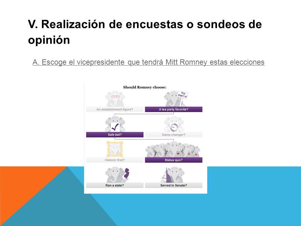 V. Realización de encuestas o sondeos de opinión A.