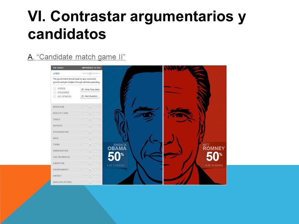 VI. Contrastar argumentarios y candidatos A. Candidate match game II. Candidate match game II