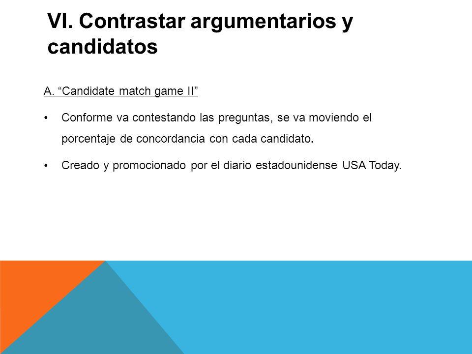 VI. Contrastar argumentarios y candidatos A.