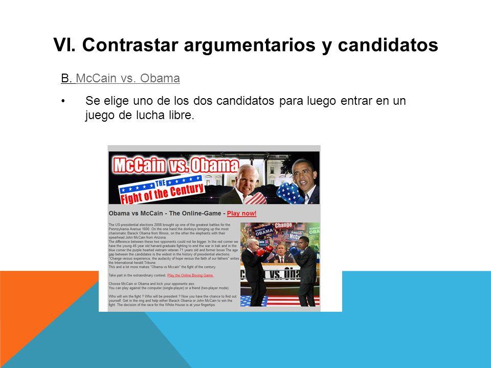 VI. Contrastar argumentarios y candidatos B. McCain vs.