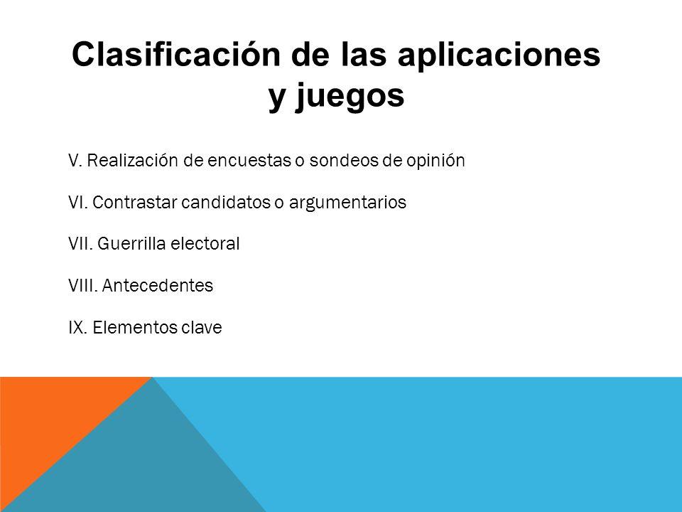 Clasificación de las aplicaciones y juegos V. Realización de encuestas o sondeos de opinión VI.
