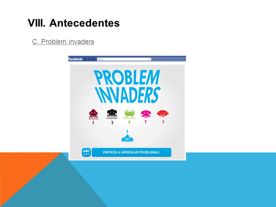 VIII. Antecedentes C. Problem invaders