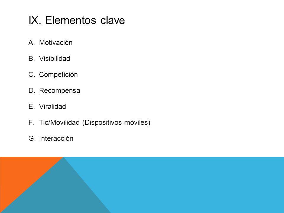 IX. Elementos clave A.Motivación B.Visibilidad C.Competición D.Recompensa E.Viralidad F.Tic/Movilidad (Dispositivos móviles) G.Interacción