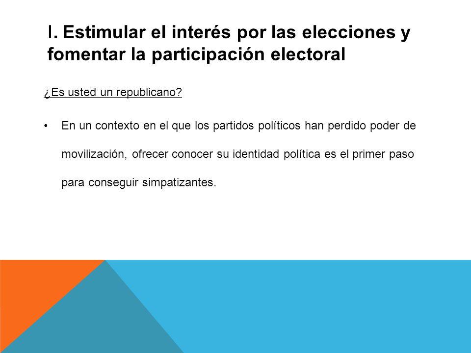 I. Estimular el interés por las elecciones y fomentar la participación electoral ¿Es usted un republicano? En un contexto en el que los partidos polít