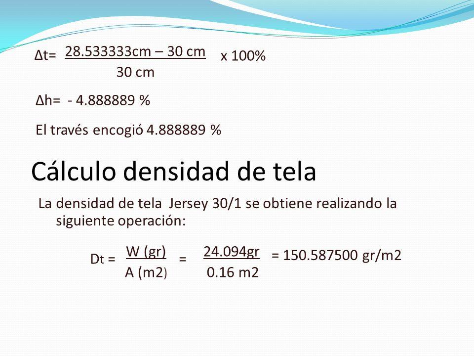 28.533333cm – 30 cm 30 cm x 100% Δt= Δh= - 4.888889 % El través encogió 4.888889 % Cálculo densidad de tela La densidad de tela Jersey 30/1 se obtiene realizando la siguiente operación: Dt =Dt = W (gr) A (m2 ) 24.094gr 0.16 m2 = = 150.587500 gr/m2