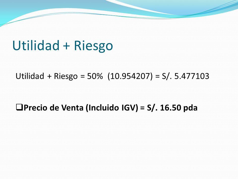 Utilidad + Riesgo Utilidad + Riesgo = 50% (10.954207) = S/.